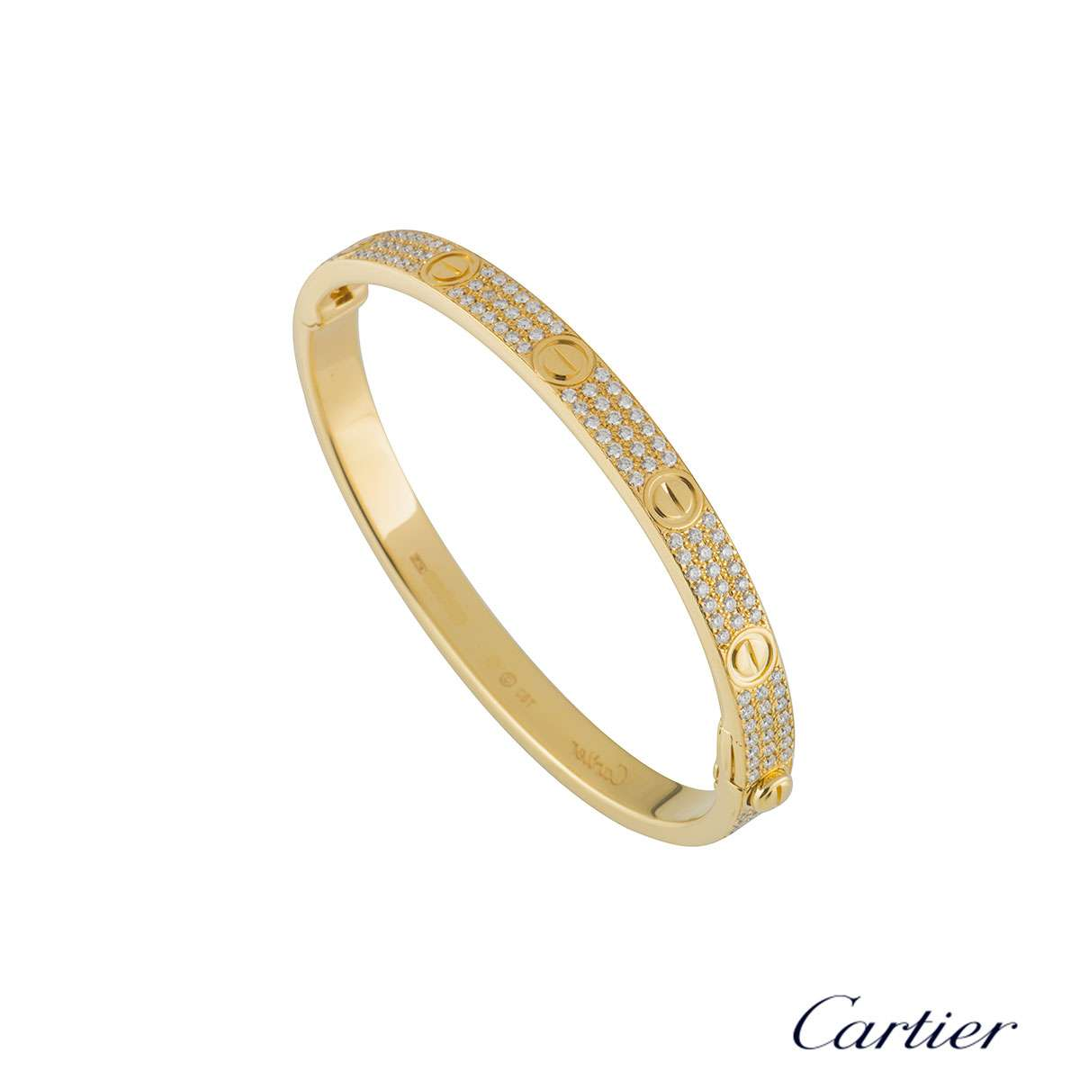 Cartier Yellow Gold Pave Diamond Love Bracelet Size 19 N6035019